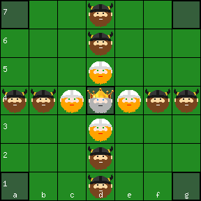 Irish Brandubh 7x7 board